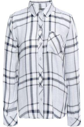 DKNY Living Linear metallic checked woven shirt