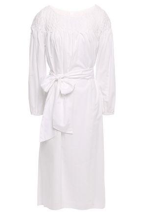 MERLETTE Bonaire belted smocked cotton-broadcloth dress