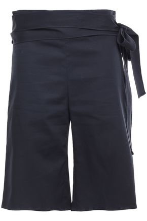 MERLETTE Creus belted cotton-broadcloth shorts