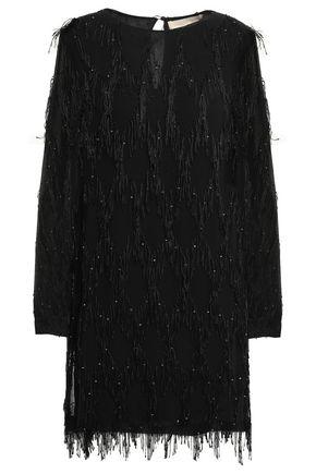 VANESSA BRUNO Beaded fringed georgette mini dress