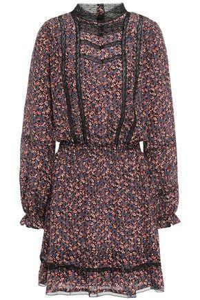 VANESSA BRUNO Lace-trimmed printed silk crepe de chine mini dress