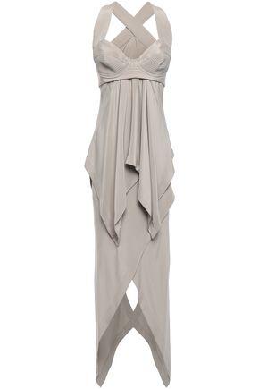 KITX Asymmetric draped silk crepe de chine dress