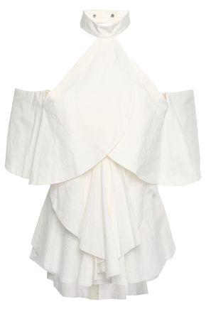 KITX Cold-shoulder tiered crinkled cotton-poplin blouse