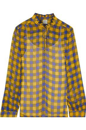 BAUM UND PFERDGARTEN Modesty ruffle-trimmed polka-dot georgette blouse