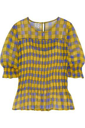 BAUM UND PFERDGARTEN Meryle shirred gingham gauze blouse