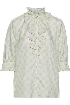 BAUM UND PFERDGARTEN Ruffle-trimmed printed crepe de chine blouse