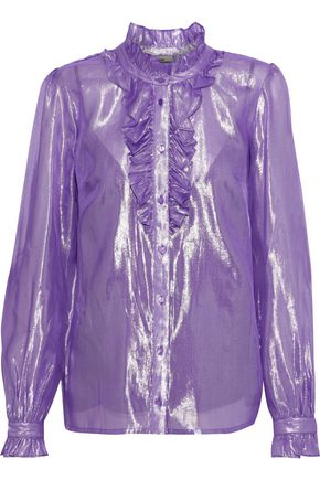 BAUM UND PFERDGARTEN Ruffled silk-blend lamé blouse