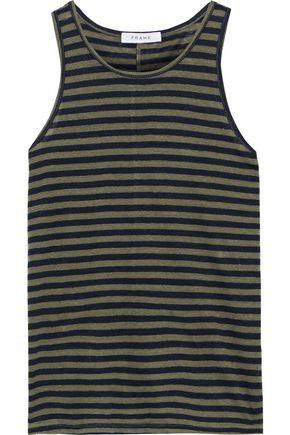 FRAME Striped linen-jersey tank