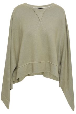 KITX Cutout draped French hemp and cotton-blend terry sweatshirt