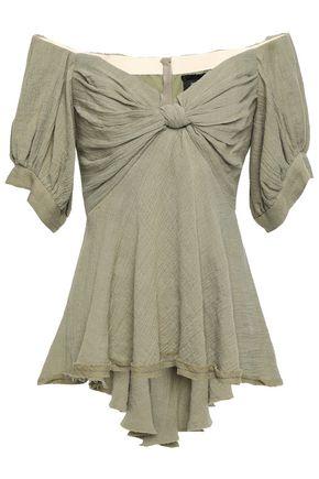 KITX Off-the-shoulder knotted linen-gauze peplum blouse