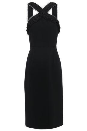 JASON WU Ruffled grosgrain-trimmed stretch-crepe midi dress