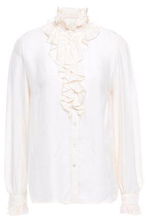 BAUM UND PFERDGARTEN Marieke ruffle-trimmed embossed satin-jacquard blouse