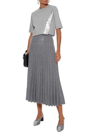 Akris T-shirts AKRIS WOMAN SEQUIN-EMBELLISHED STRETCH-JERSEY T-SHIRT GRAY