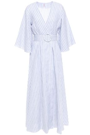 GÜL HÜRGEL Belted striped linen midi wrap dress