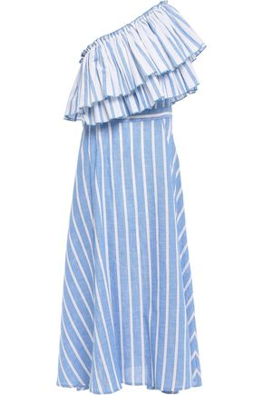 GÜL HÜRGEL One-shoulder ruffled striped cotton-gauze midi dress