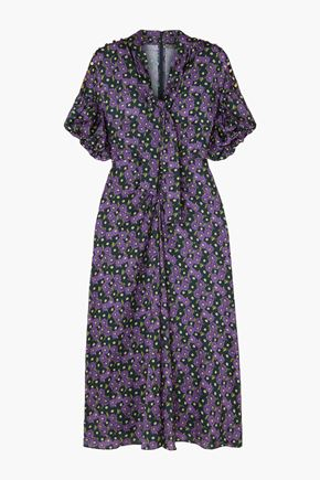 LELA ROSE Tie-neck floral-print twill midi dress