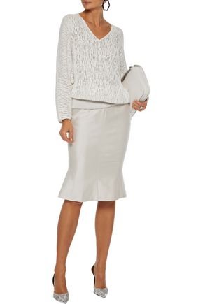 Akris Knits AKRIS WOMAN OPEN-KNIT LINEN-BLEND SWEATER OFF-WHITE