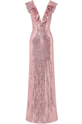 MONIQUE LHUILLIER Ruffle-trimmed sequined crepe gown