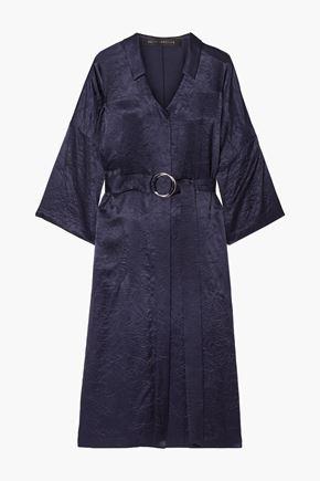 SALLY LAPOINTE فستان متوسط الطول من التويل الساتان المجعّد مزوّد بحزام