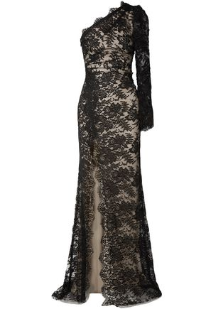 MONIQUE LHUILLIER One-shoulder cotton-blend Chantilly lace gown