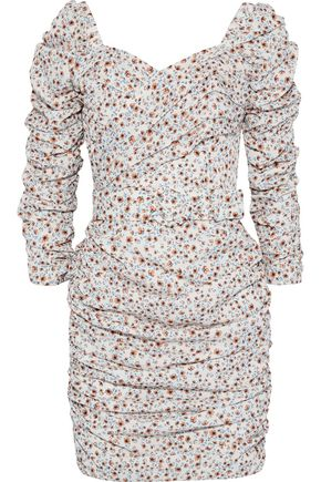 NICHOLAS Belted ruched printed crepe de chine mini dress