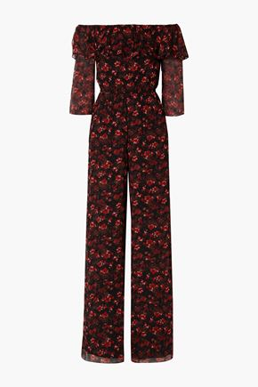 RACHEL ZOE Samura off-the-shoulder floral-print silk-crepon jumpsuit