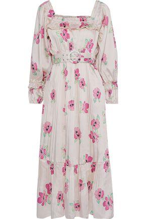NICHOLAS Belted pleated floral-print satin-twill midi dress
