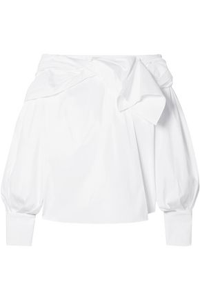 CAROLINA HERRERA Lace-trimmed ruffled cotton-blend poplin blouse