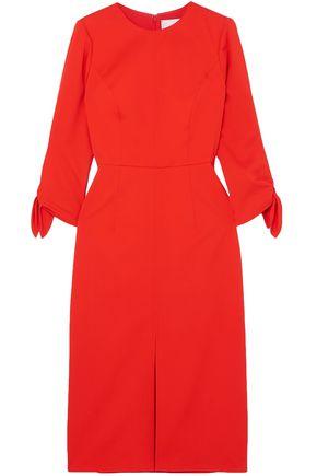 CAROLINA HERRERA Bow-detailed wool-blend twill midi dress