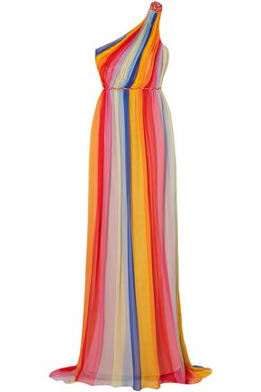 CAROLINA HERRERA One-shoulder striped pleated silk-tulle gown