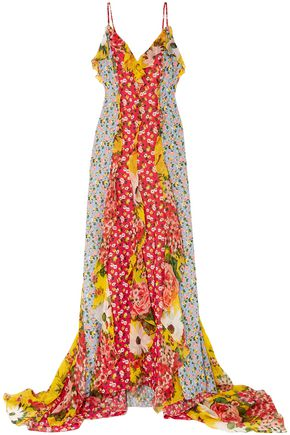 CAROLINA HERRERA Patchwork-effect draped printed fil coupé chiffon gown
