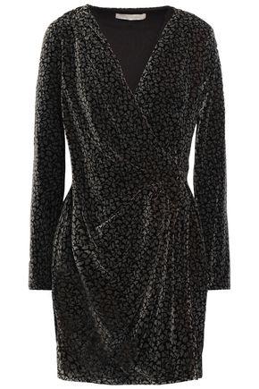 VANESSA BRUNO Wrap-effect draped printed velvet mini dress