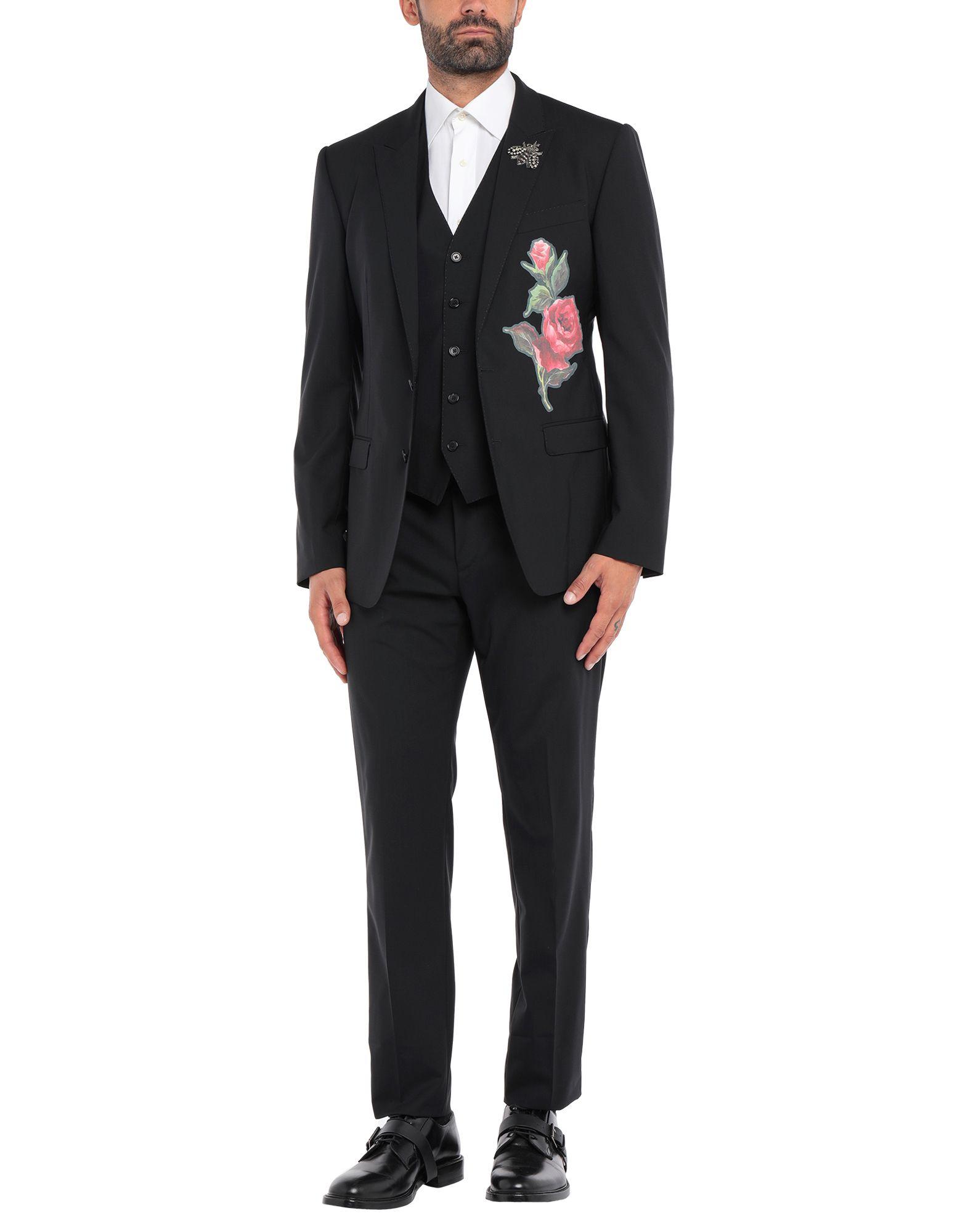 《セール開催中》DOLCE & GABBANA メンズ スーツ ブラック 50 バージンウール 98% / ポリウレタン 2% / ポリエステル / ガラス / 真鍮/ブラス