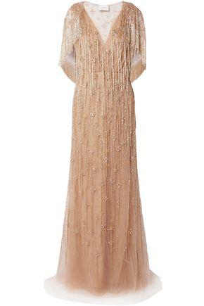 MARCHESA ビーズ&クリスタル付き 刺繍入り チュール ロングドレス