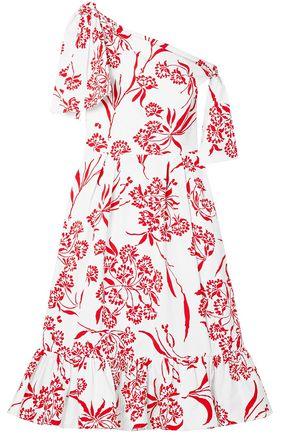 CAROLINA HERRERA Off-the-shoulder printed stretch-cotton poplin midi dress