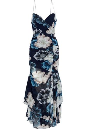 NICHOLAS Split-front ruched floral-print silk-chiffon gown