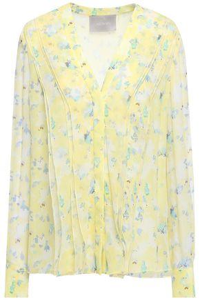JASON WU Ribbed floral-print silk-crepon blouse