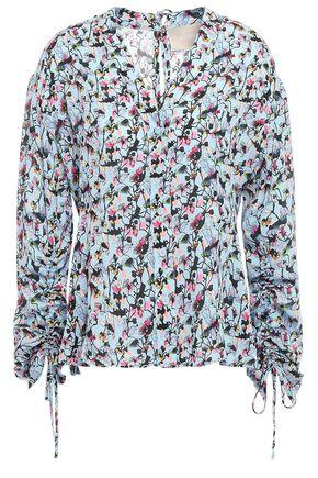 JASON WU Gathered floral-print crepe blouse