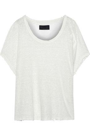 RTA ヴィンテージ加工メタリックストライプリネン混 Tシャツ