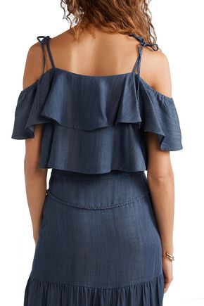 RACHEL ZOE Angie cold-shoulder ruffled Tencel-chambray top