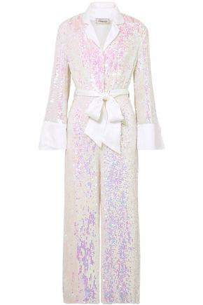 """TEMPERLEY LONDON جمب سوت """"بيا"""" من قماش جورجيت مزين بالترتر بألوان قزحية ومزوّد بحزام"""