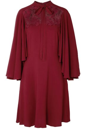 GIAMBATTISTA VALLI Pussy-bow guipure lace-paneled crepe dress