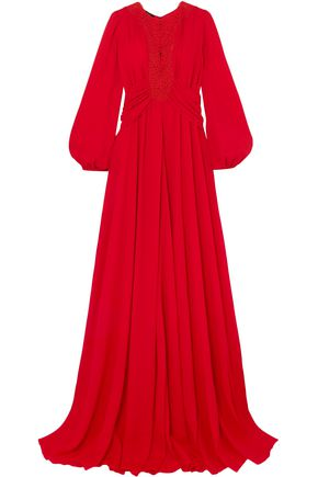 GIAMBATTISTA VALLI Guipure lace-trimmed ruched georgette gown