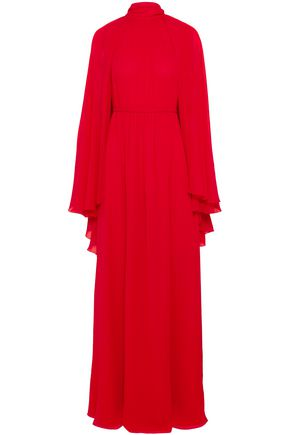 GIAMBATTISTA VALLI Cape-effect gathered silk-chiffon gown