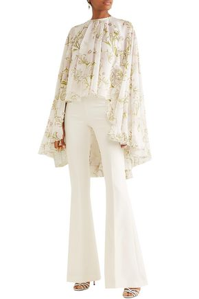 Giambattista Valli Cape-effect Ruffle-trimmed Floral-print Silk-chiffon Blouse In Ivory