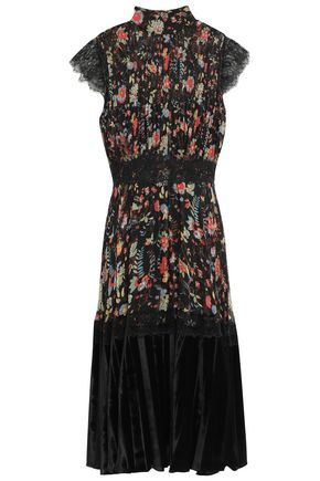 MIKAEL AGHAL Velvet-paneled lace-trimmed pintucked floral-print crepon dress
