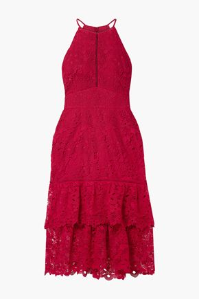 RACHEL ZOE Annalise tiered guipure lace midi dress