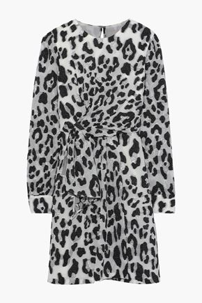 CAROLINA HERRERA Knotted leopard-print fil coupé silk-blend dress