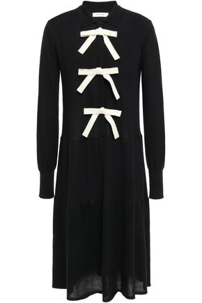 CHINTI & PARKER Bow-embellished wool and cashmere-blend dress