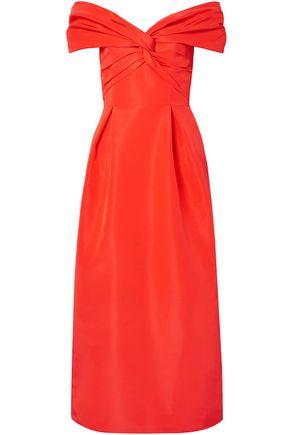 CAROLINA HERRERA Off-the-shoulder knotted silk-faille midi dress
